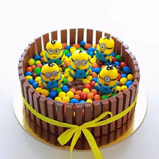 minions cake kitkat gems with minions express home delivery across jaipur
