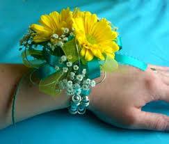 sunflower corsage turquoise yellow wrist corsage in portland me dodge the