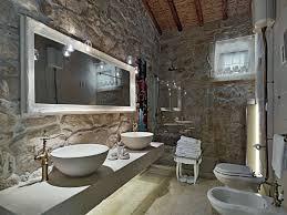 stacked stone bathroom built in medicine cabinets design ideas
