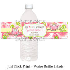 paisley owl baby shower or birthday water bottle labels just
