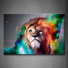 amazon com colorful lion artistic wall art painting the picture amazon com colorful lion artistic wall art painting the picture print on canvas animal pictures for home decor decoration gift kitchen dining