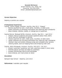 cashier skills and experiences sseking position career objective
