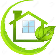 logo of simple green eco house with leafs royalty free cliparts