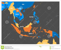 South East Asia Map South East Asia Political Map In Four Colors With White Country