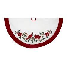 kurt adler 48 velvet and white cardinals treeskirt