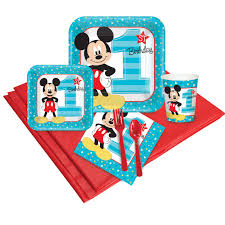 mickey mouse 1st birthday mickey mouse 1st birthday deluxe tableware kit serves 8