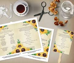 sunflower wedding programs rustic sunflower wedding program template order of service