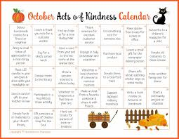 monthly acts of kindness calendars