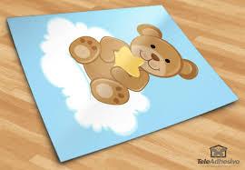 kinderzimmer wandtattoo bär mit sternen auf der wolke sitzen