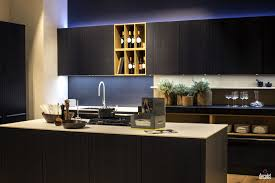 Dark Kitchen Island Black Wooden Island With White Countertop Open Shelving Wine And