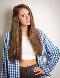 beautiful teen in a white top and blue shirt u2014 stock photo