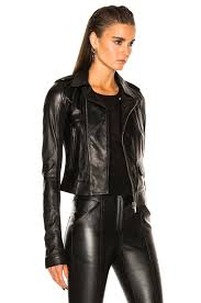 biker coat rick owens classic stooges biker jacket in black fwrd