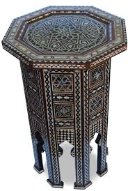 pair tall syrian or moroccan octagonal inlay