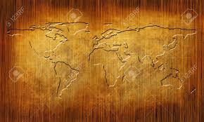 World Map On Wood Planks by Wood Texture With Straight Lines And World Map Stock Photo
