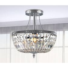 Basket Chandeliers Jessica Crystal Basket Semi Flush Mount Chrome 3 Light Chandelier