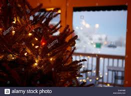 decorated christmas tree looking out of window to snow covered