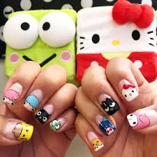 check out these colorful and cute hello sanrio nails from