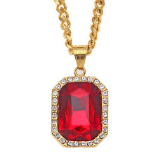 trendy necklace pendants images Wholesale trendy bling ruby pendant mens necklace stainless steel jpg