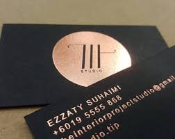 Business Cards With Foil Black Business Card Etsy