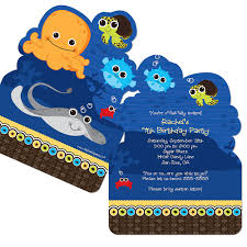 the sea party the sea critters shaped birthday party invitations