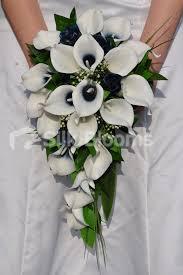 Cascade Bouquet Shop Artificial Navy And Ivory Centred Calla Lily Cascade Bouquet