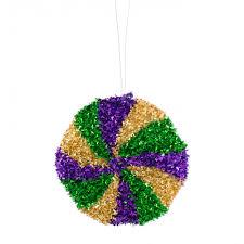 4 swirl tinsel disc ornament mardi gras xy7987tc craftoutlet