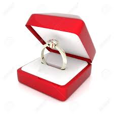 wedding ring in a box image of wedding rings in a gift box on white background stock