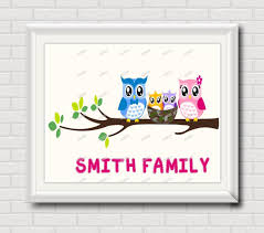 printable owl art owl family nursery wall art print modern pictures for kids room