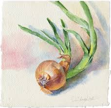 painting for kitchen watercolor vegetable painting green onion painting for