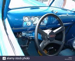 1941 chevrolet pickup truck interior blue paint stock photo