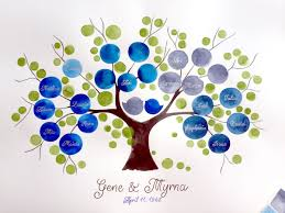 custom ancestry tree watercolor painting silver and gold custom