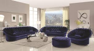 Blue Velvet Sectional Sofa by Romanus 511041 Sectional Sofa In Blue Fabric Coaster W Options