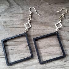 green tree earrings open square green tree jewelry black satin laser cut wood earrings
