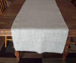 diy white burlap table runner on long wood wedding table ideas