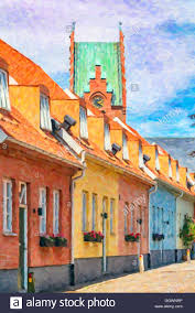 Painted Houses A Row Of Pastel Painted Houses In Trelleborg Sweden The Church