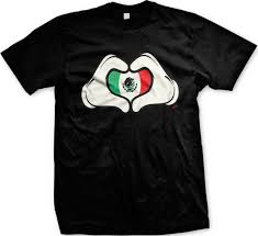 Mexixan Flag Mexican Flag Cartoon Hands Heart Mexico Brown Pride Mens T Shirt