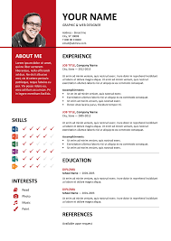 bayview free resume template microsoft word red layout classic