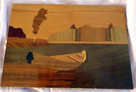 vintage ussr russia wood inlay wall hanging plaque folk ebay