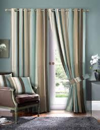 Blue Silk Curtains Striped Faux Silk Curtains Duck Egg Blue U0026 Cream Eyelet Lined