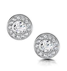 white topaz earrings tesoro collection bezel set white topaz earrings in 925