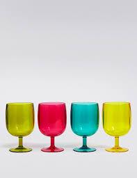 set of 4 stacking plastic picnic wine glasses m u0026s