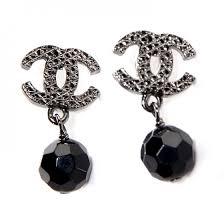 black dangle earrings chanel beaded cc dangle earrings black 84343