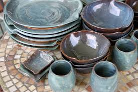 eclectic dinnerware set of 6 place settings in slate blue
