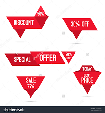 discount ribbon set tags with ribbons and labels special offer discount and