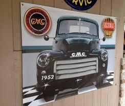 Vintage Ford Truck Signs - 1952 gmc 100 pickup truck dark green garage scene neon effect sign