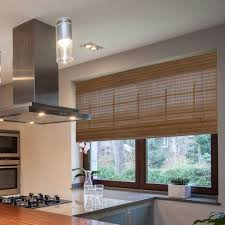 lewis radiance westside collection bamboo roman shade pecan finish