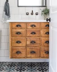 vintage card catalog as floating bathroom vanity vintage modern