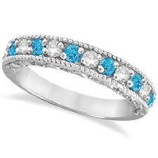 Blue Diamond Wedding Rings by Blue Topaz U0026 Diamond Band Filigree Ring Design 14k White Gold 0 60ct