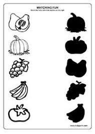 fruit shadow worksheet for kids frugt og grønt pinterest