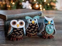owl ornaments kid s craft idea felt pinecone owl ornaments